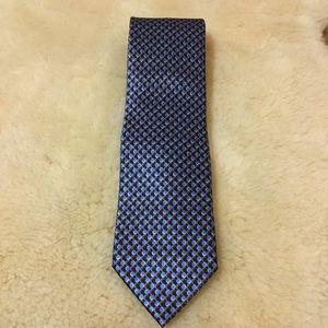 Brioni blue silk small geometric print tie